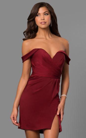 2019 Abiye Modelleri Ve Sik Gece Elbiseleri Bordo Kisa Omzu Acik Dusuk Kol Kalp Yaka Yirtmacli Mezunlar Gecesi Elbiseleri Kisa Etekli Elbiseler Elbise