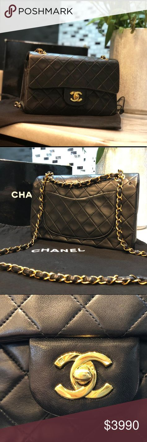 c7b7c7739a97 Chanel small double flap bag Authentic Vintage Chanel Small 2.55 classic bag.  Black color in