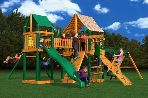 The Gorilla Playsets Pioneer Peak Supreme WG Cedar Play Set feature beautiful amber stain with green plastic coating. It is resistant and convenient for children to play, rest or eat in your backyard.