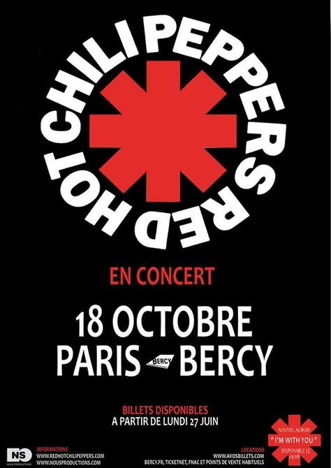 """Reproduction Red Hot Chili Peppers Poster """"Paris"""", Home Wall Art"""