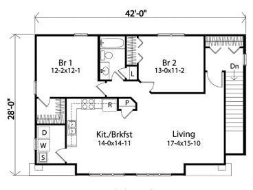 Country Barn Floor Plan Living Space Above Stalls Garage
