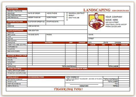 Landscaping Invoice Template 4 Landscaping Invoice Templates - landscaping invoice