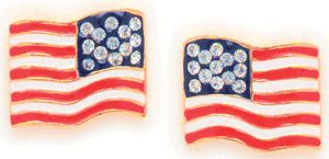 """CLEARANCE Gold-tone with tiny rhinestones for stars, 3/4"""" American flag clip-on earrings. Only $6.00"""
