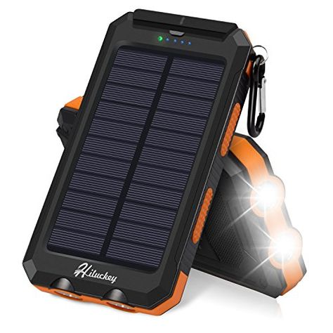 Solar Charger Hiluckey Solar Power Bank 10000mAh Waterproof