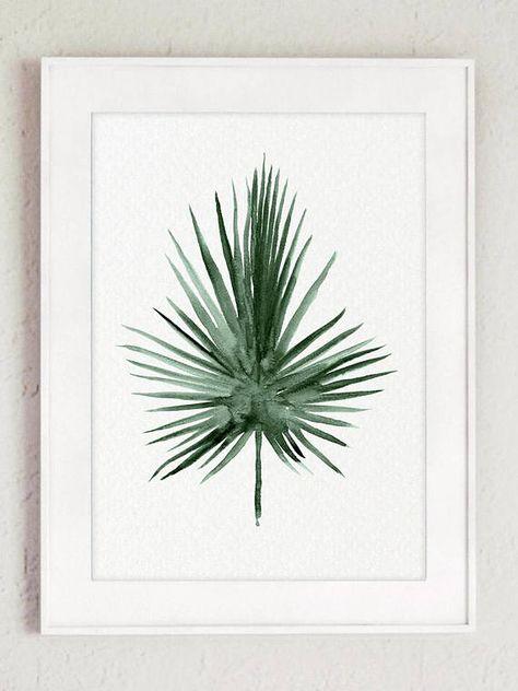 Palm Leaf Aquarelle Peinture Ensemble 4 Art Prints Green Botanical