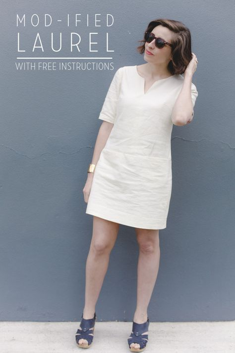 Make a mod-inspired dress with this free pattern hack for Colette Patterns Laurel dress.
