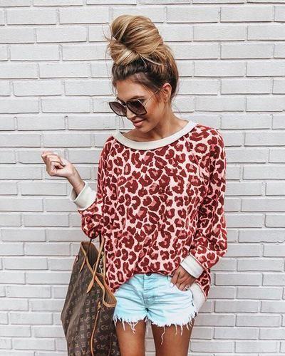 Women Leopard Print O-Neck Cotton Ladies Long Sleeve Sweatshirt Blouse Tops