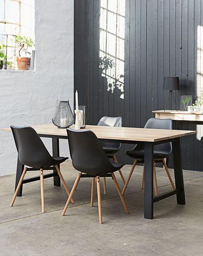 Dining Table Gadeskov 90x190 Oak Black Garden Table Chairs