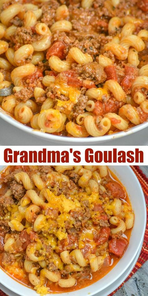 Grandma's American Goulash A saucy American ground beef & past. Grandma's American Goulash A saucy American ground beef & pasta dish laden with a blend of cheeses and simmered to savory perfection. Ground Beef Pasta, Ground Beef Goulash, Ground Beef Dishes, Ground Beef With Potatoes, Ground Beef Slow Cooker, Casseroles With Ground Beef, Ground Beef Meals, Soup With Ground Beef, Pasta Facil