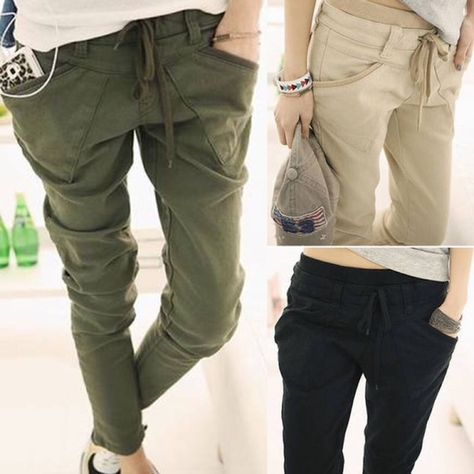 🍀military cargo pants🍀 This is a pair of the latest fashion, thick military material, deep and wide enough front pockets for any phone. Military green  Pants