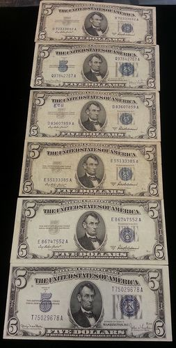 6 5 Dollar Silver Certificates 1934 1953 Various Grades Must See ...
