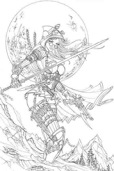 Steampunk Red Riding Hood Order Of The Wolf By Jamietyndalldeviantart Coloring Page Printable Adult Kleuren Voor Volwassenen Farbung Fur Erwachsene
