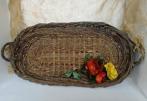 Plafoniera Vimini : Vintage oval wicker basket rustic home decor etsy made in italy