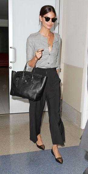6 dicas para dar um toque de classe no look - #GuitaModa. Camisa cinza, calça de alfaiataria, sapatilha de bico fino