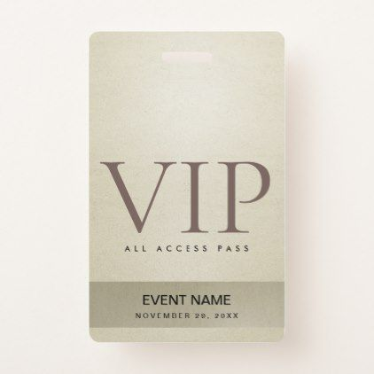 Elegant Silver Pale Gold Vip Event Access Pass Badge Zazzle Com