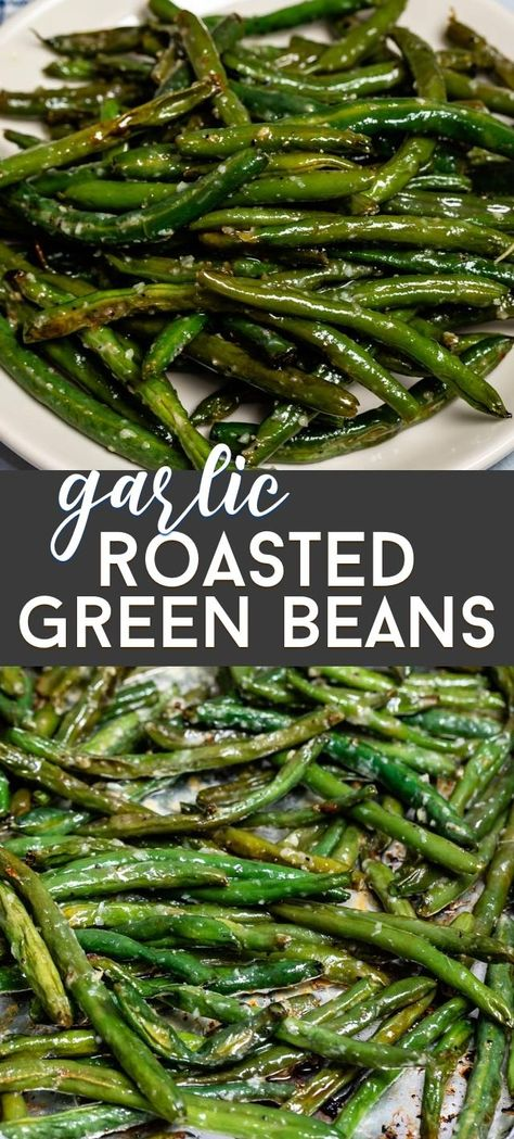 Easy Roasted Garlic Green Beans – Crazy for Crust We love to roast green beans! Garlic Roasted Green Beans are the perfect easy side dish! This is the best green beans recipe for dinner. Veggie Side Dishes, Vegetable Sides, Side Dishes Easy, Side Dish Recipes, Food Dishes, Side Dishes Green Beans, Green Beans In Oven, Roast Dinner Side Dishes, Clean Eating Green Beans