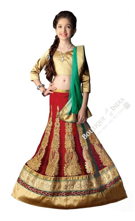 Product Name Girl's - Red, Green And Golden Heavy Work - Lehnga / Half Saree - Girl's Party And Wedding Collection Lehnga Set For Special Occasions Product Code LEH-WEDD-1045-16 SKU 50016 Material Brocade, Net, Jacquard, Lycra Color Red, Green and Golden Work Embroidery work, Patch work, Stone work, Jari work, Jardoshi work Style Designer, Traditional, Fashionable Occasion Wedding, Mahendi, Sangeet, Party Items included Semi Stitched Lehnga Skirt, Ready to Stitch Blouse Material and half saree P