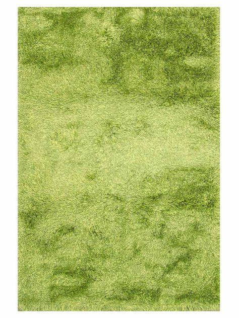 Lime Green Hand Woven Shag Rug
