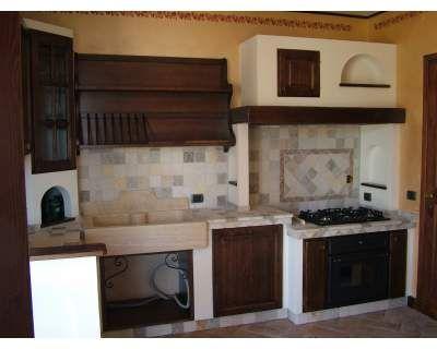 Cucina in massello di castagno angolare in finta muratura ...