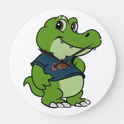 Baby Crocodile Cartoon Large Clock Zazzle Com In 2021 Crocodile Cartoon Crocodile Large Clock