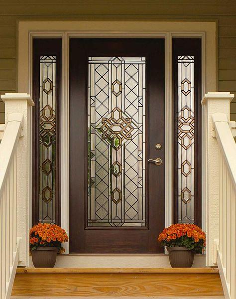Great Design Beveled Glass Home Entry Door Featuring Dark Brown