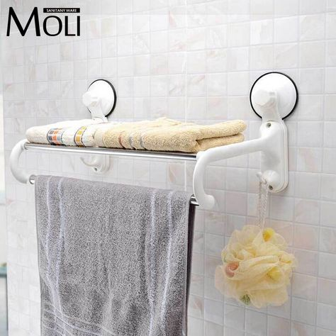 Suction Towel Holder Plastic Towel Rack With Bar And Hooks Wall Suction Cup Towel Shelf Bathroom Accessories Towel Rack Towel Shelf