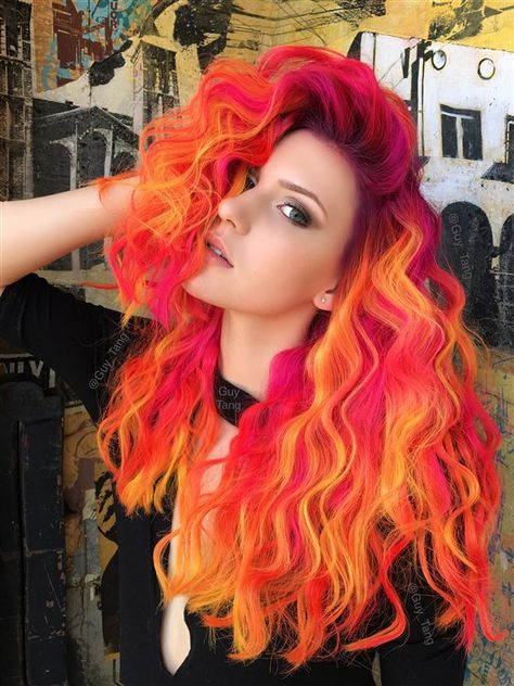 25 Eye-Catching Ideas Of Pulling Of Orange Hair Today cheveux flashy Cute Hair Colors, Hair Dye Colors, Cool Hair Color, Fire Hair Color, Bright Hair Colors, Neon Colors, Pastel Colors, Bright Coloured Hair, Fire Ombre Hair