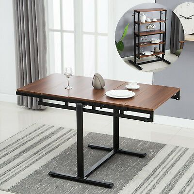 2in1 Folding Wooden Dining Table 5 Tier Bookcase Shelf Kitchen