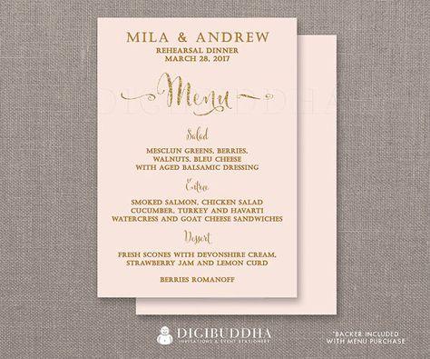 REHEARSAL DINNER MENU Blush Pink Gold Glitter Bridal Shower - dinner menu