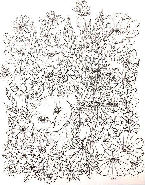 Maria Trolle Cat In Flowers Flower Coloring Pages Coloring Book Art Animal Coloring Pages