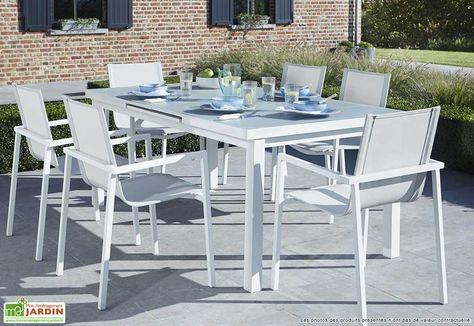 Salon de Jardin Aluminium et Verre Whitestar : Table + 6 Fauteuils ...