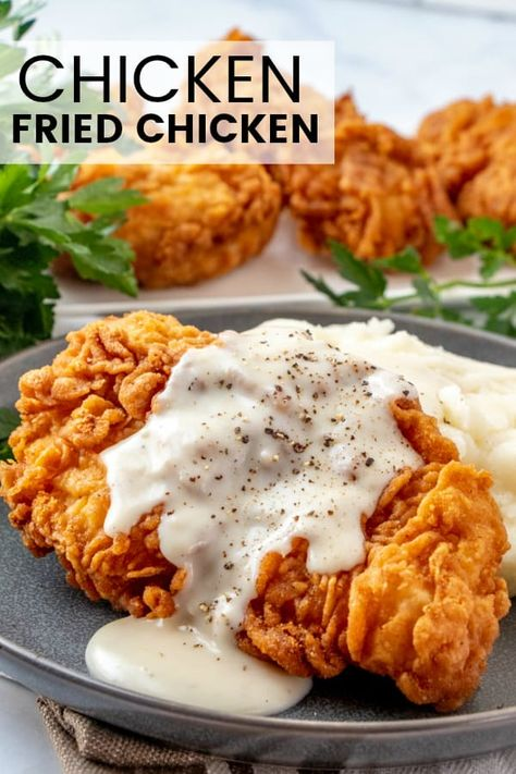 chicken recipes Easy and delicious this Chicken Fried Chicken is a quick and flavorful dinnertime recipe that brings the whole family to the table, with minimal ingredients its a simple and comforting meal. Fried Chicken Breast, Fried Chicken Recipes, Chicken Fried Chicken, Easy Boneless Fried Chicken Recipe, Recipes With Chicken Quick, Simple Chicken Dishes, Turkey Steak Recipes, Meals With Chicken, Fried Chicken