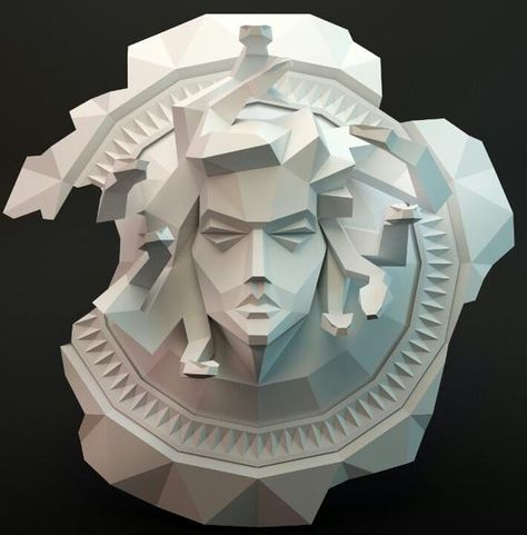 Papercraft Low Poly Medusa gorgon on the shield 3D Paper | Etsy