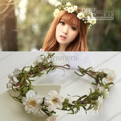 Boho Wedding Bridal Flower Wreath PE Foam Peony With Leaves Head Garland In Accessories Flowers Hair HZW020