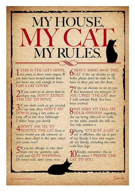 Mein Haus, meine Katze, mein Regeln Digital Drucken für Katzenliebhaber ** A4 **