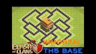 The Best Ever TH5 Defensive COC War Base (IMMORTAL DEFENSE