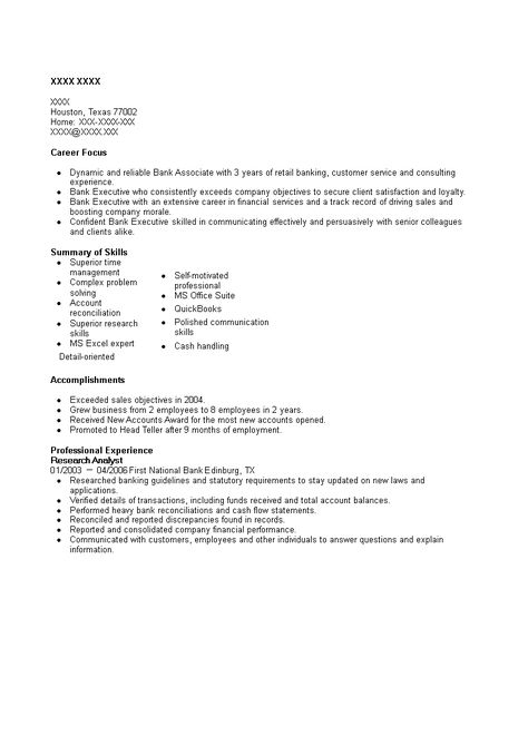 Banking Research Analyst Resume - How to prepare a Banking Research
