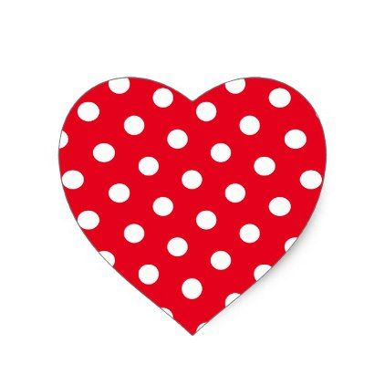 Pin heart with polka dots and red flower