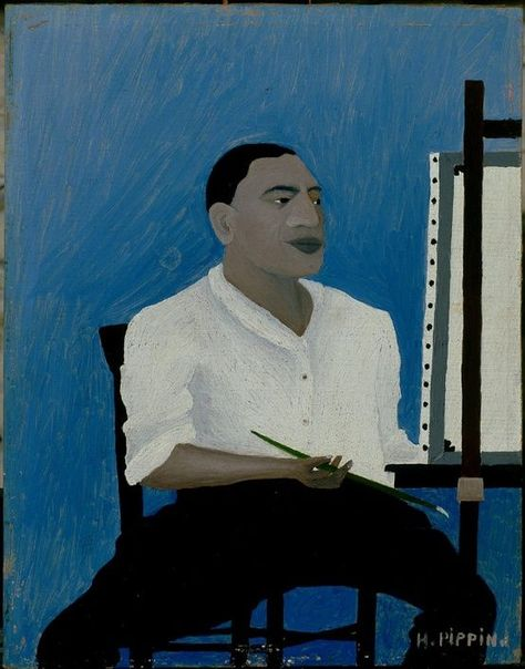 Horace Pippin - Self-Portrait, 1941 Oil on canvas board, 20 x 17 x 2 1/2 inches (50.8 x 43.18 x 6.35 cm) (Image courtesy the Albright-Knox Art Gallery, Buffalo, New York)