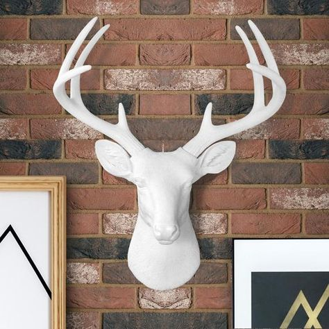 Large Faux Deer Head Free Shipping Wall Charmers Faux Taxidermy Resin Animal Head Ceramic Stag Taxidermy Buck Antler Mount Fauxidermy Deer Head Wall Decor Faux Taxidermy Faux Taxidermy Decor
