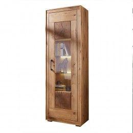 Vitrinenschrank Cranados Aus Wildeiche Holz Und Glas With Images Tall Cabinet Storage Storage Cabinet Home Decor