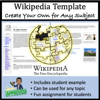 Wikipedia Page Create Your Own For Any Subject Word Template Word Template Student Created Wikipedia