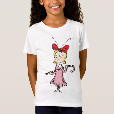 Dr. Seuss | Cindy Lou Who Holding Candy Cane T Shirt