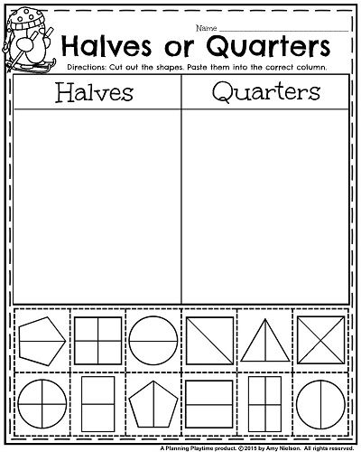 Whole Halves And Fourths Worksheet Made By Mrs Lynn Classroom