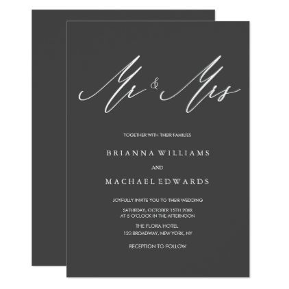 Simple Elegant Calligraphy Mr And Mrs Wedding Invitation Zazzle