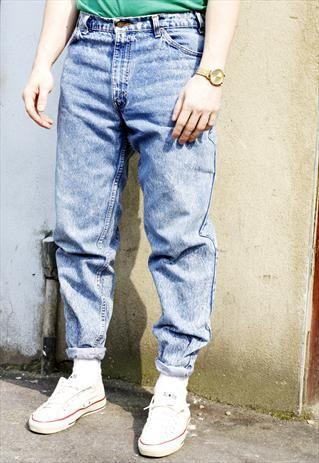 854263fe Vintage 90s Levi's 505 Acid Wash Blue Denim Jeans