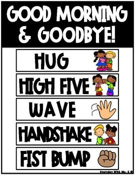 Classroom Greetings Good Morning Goodbye Social Distancing Display Posters Greeting Poster Greeting Sign Welcome Signs Front Door