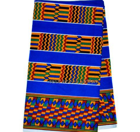 Blue Kente cloth Print Wholesale Supreme by TessWorldDesigns