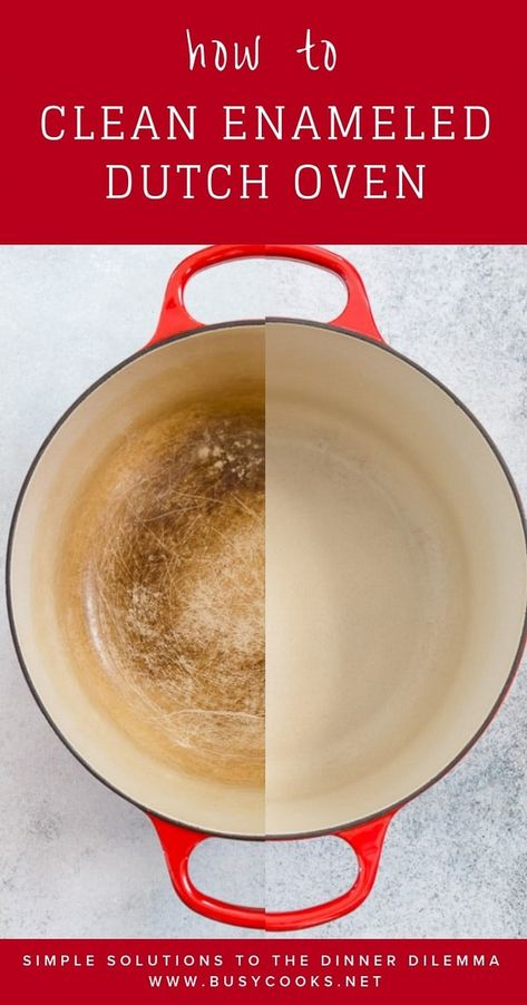 How to Clean a Dutch Oven Is your beloved Le Creuset dutch oven stained from all. - Cleaning Tips Household Cleaning Tips, Deep Cleaning Tips, Cleaning Recipes, House Cleaning Tips, Natural Cleaning Products, Spring Cleaning, Kitchen Cleaning, Household Cleaners, Oven Cleaning Hacks