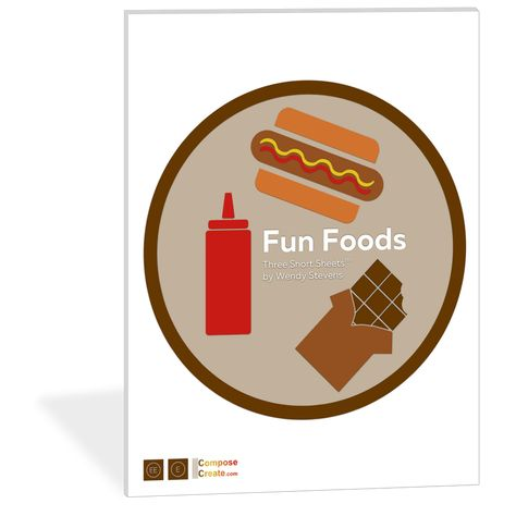 Need shorter pieces that are easier to teach online? Fun solos for summer lessons? Introducing Fun Foods Short Sheets® #piano #teacher #teaching #fun #music #food #ketchup #chocolate #hotdog #solo #repertoire #piece #kids #student #easy #solo #simple #short